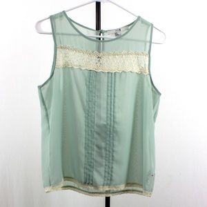 Tops - Sheer top with lace detailing